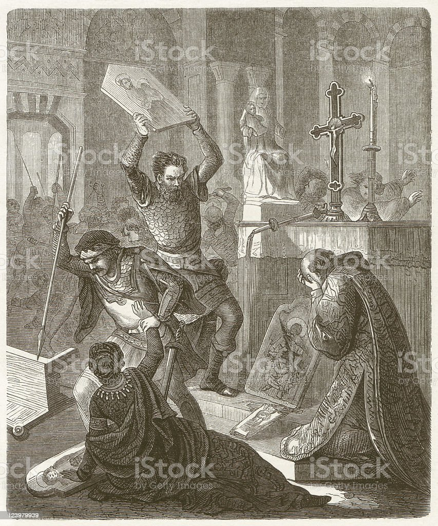 Byzantine iconoclastic, 8th and 9th Century, wood engraving, published 1881 royalty-free stock vector art