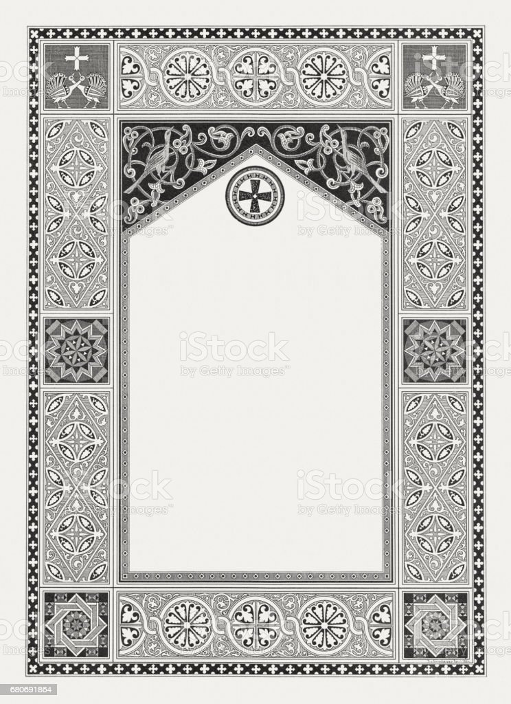 Byzantine ornament frame with copy space, wood engraving, published 1884 vector art illustration