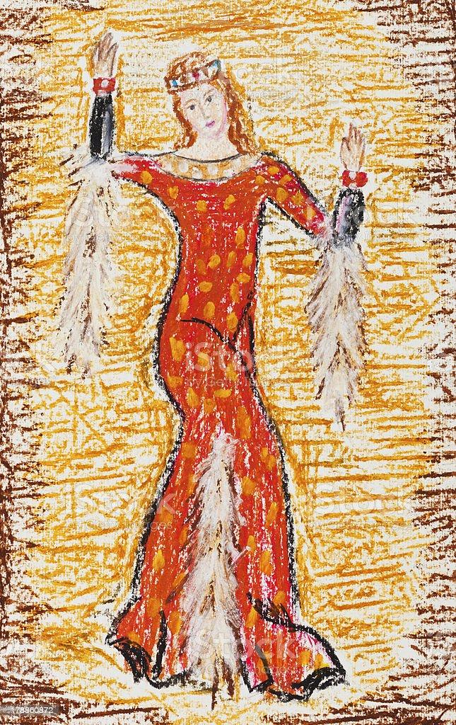 Banco Ilustración En Y Abrigo Mujer Rojo Bizantino De Más 8wcf8pqB