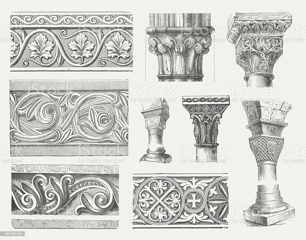 Byzantine-Romanesque ornaments, wood engravings, published in 1876 vector art illustration