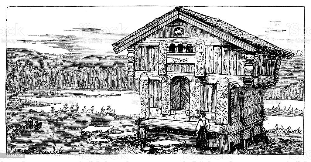 Cabin by the lake vector art illustration