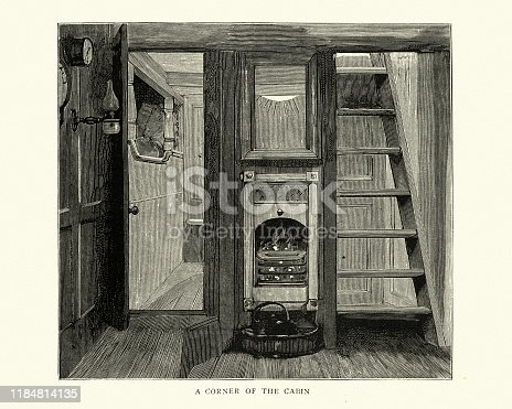 Vintage engraving of Cabin on a North Sea fishing boat, Victorian 19th Century