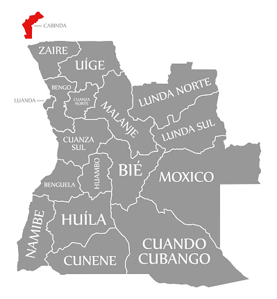Cabinda red highlighted in map of Angola