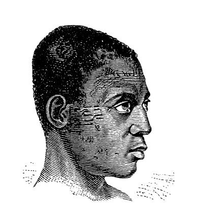 Cabindan man, Africa (antique wood engraving)