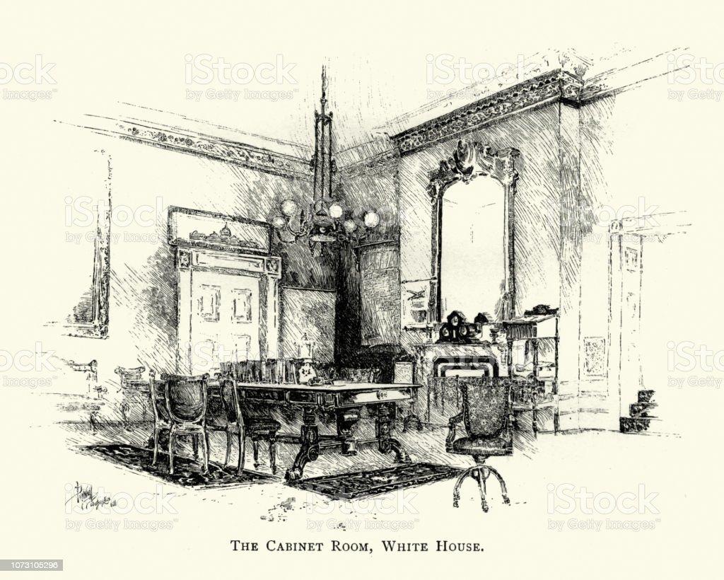 Cabinet Room White House Washington Usa 19th Century Stock