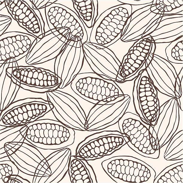 cacao pod seamless pattern - plant pod stock illustrations