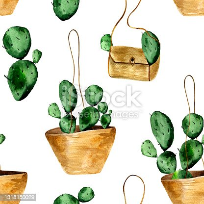 istock Cacti in a bag watercolor seamless pattern. 1318150029