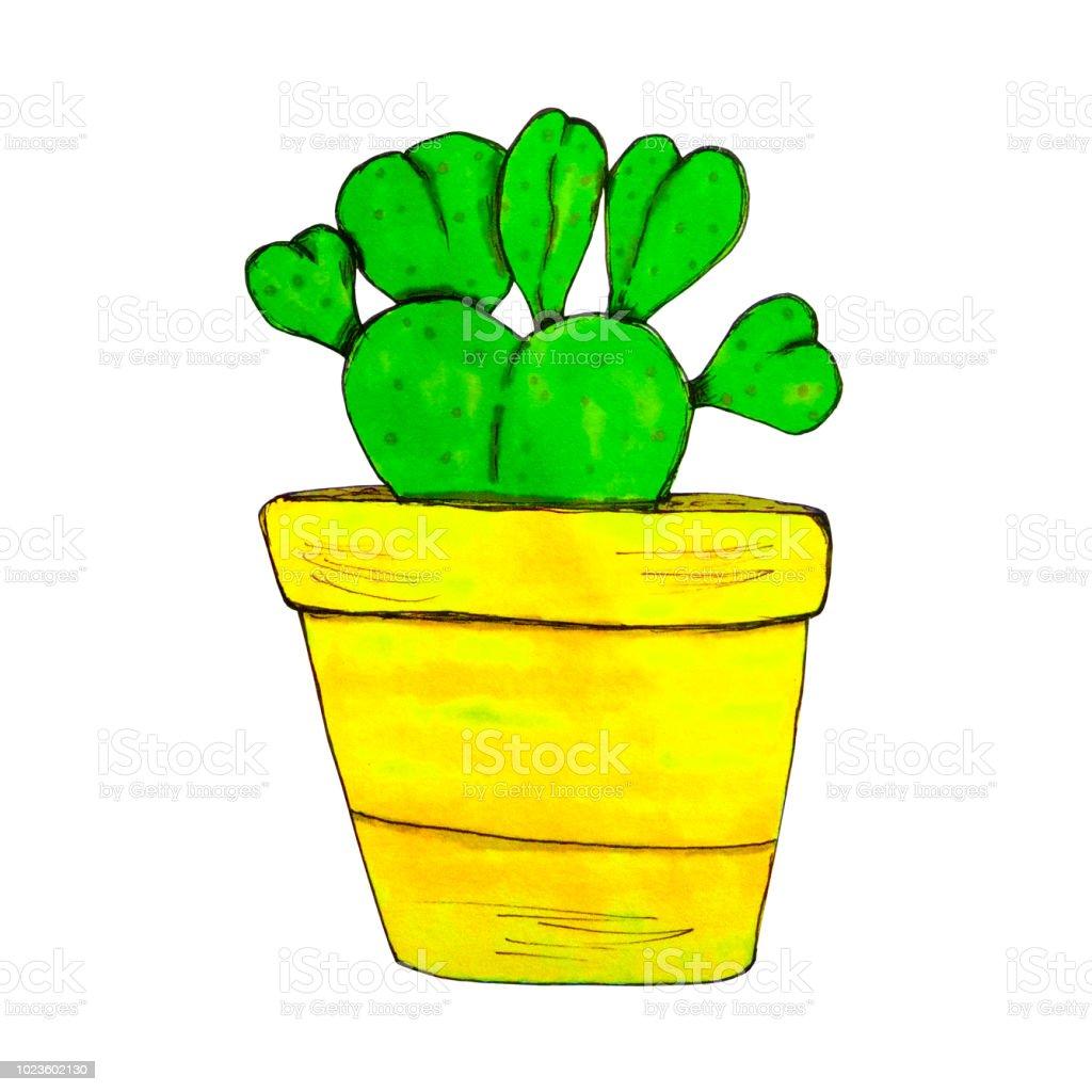 Cactus In A Ceramic Flower Pot Watercolor Succulent Illustration
