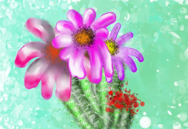 Cactus with purple flowers vector art illustration