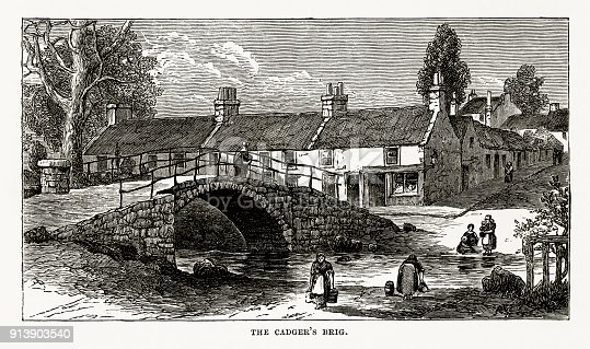 Very Rare, Beautifully Illustrated Antique Engraving of Cadger's Brig in Scotland Victorian Engraving, Circa 1840 from Our Own Country, Great Britain, Descriptive, Historical, Pictorial. Published in 1880. Copyright has expired on this artwork. Digitally restored.