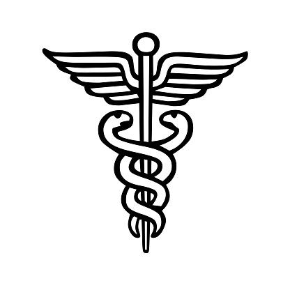ヘルメスの杖医療シンボルマーク - アイコンのベクターアート素材や画像を多数ご用意