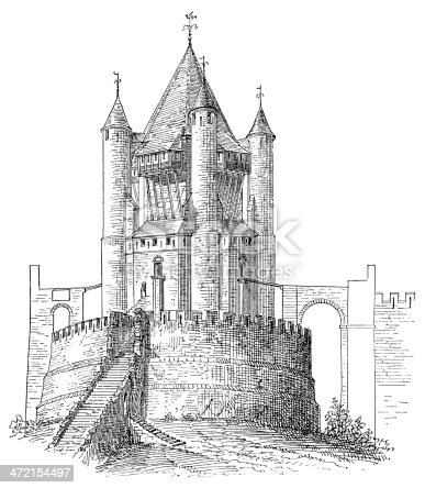 Antique engraving from a drawing by C. Fichot of the Caesar's Tower (Tour César) in Provins, France.