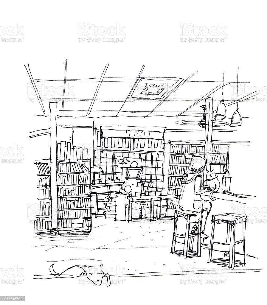 cafe coffee shop, book store, concept business illustration vector art illustration