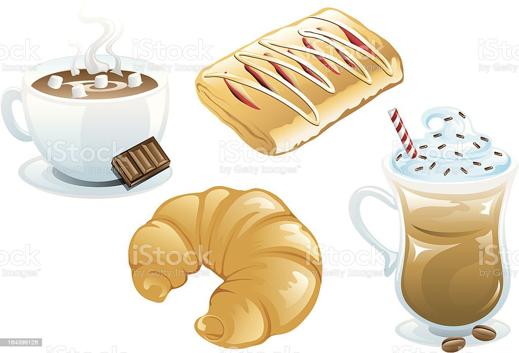 Cafe Food Icons vector art illustration