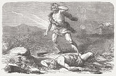 istock Cain and Abel (Genesis 4, 8-10), wood engraving, published 1877 471345615
