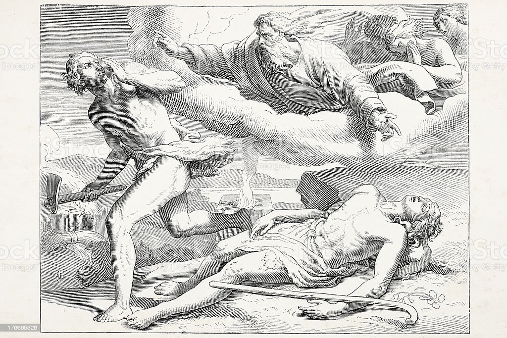 Cain killing Abel punished by god royalty-free cain killing abel punished by god stock vector art & more images of 19th century