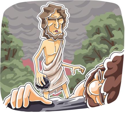 Cain Убиты Абель — стоковая векторная графика и другие изображения на тему Брат