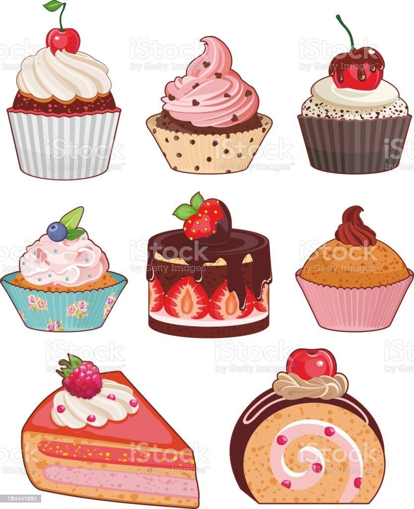 cake set vector art illustration
