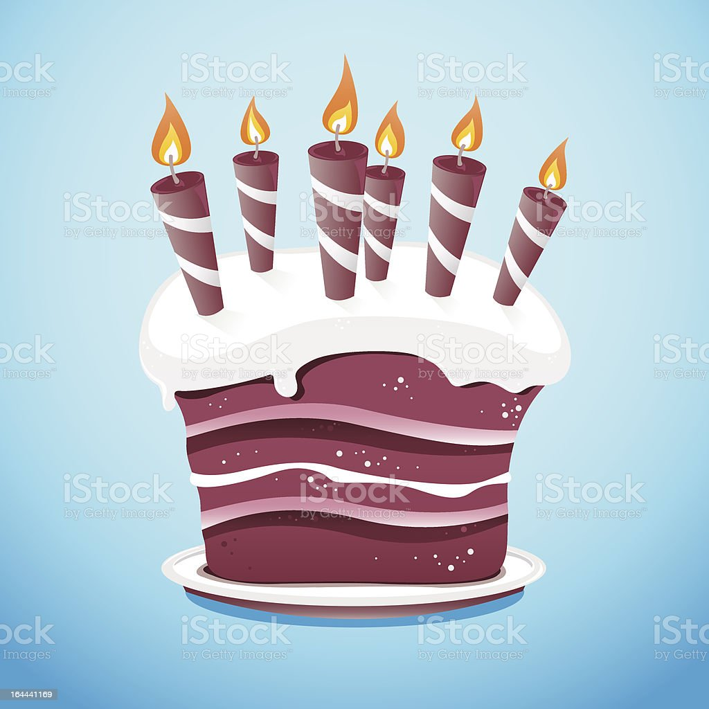 Cake With Candles On Serving Plate vector art illustration