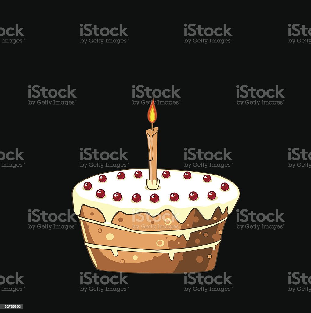 Cake with cherries and candle - Royalty-free Birthday stock vector