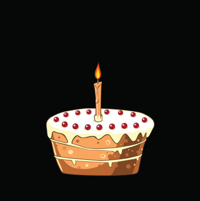 Cake With Cherries And Candle Stock Illustration - Download Image Now