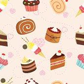 cakes and icecream seamless background