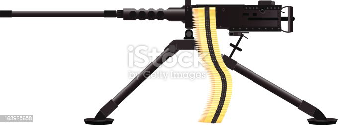 Detailed illustration of .50 Caliber Machine gun. Bullets and tripod on separate layers.