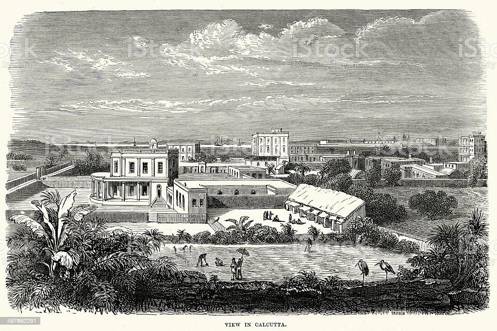 Calcutta in the 19th Century royalty-free stock vector art