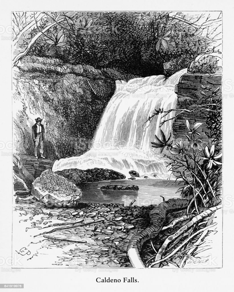 Caldeno Falls, Delaware River Water Gap, Pennsylvania, United States, American Victorian Engraving, 1872 vector art illustration
