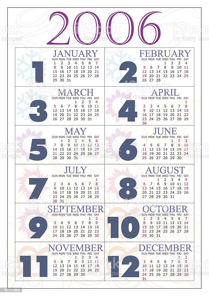Calendar 2006 royalty-free stock vector art