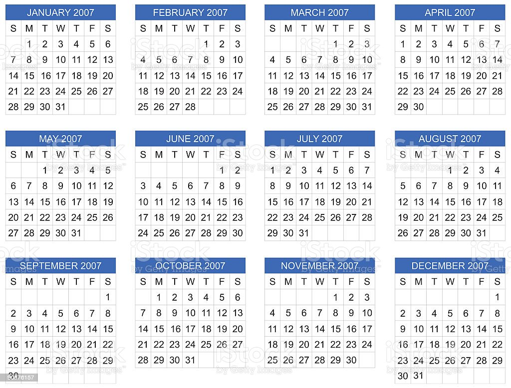 calendar 2007 start on sunday vector stock vector art dairy clip art free dairy clip art images