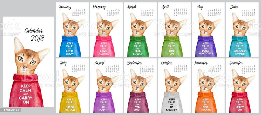 2018 Calendar Design. Cute cat in multicolored jumper with famous motivation text slogan 'KEEP CALM and'. Week starts with Sunday, but calendar grid can easily be replaced with your own favorite grid. vector art illustration