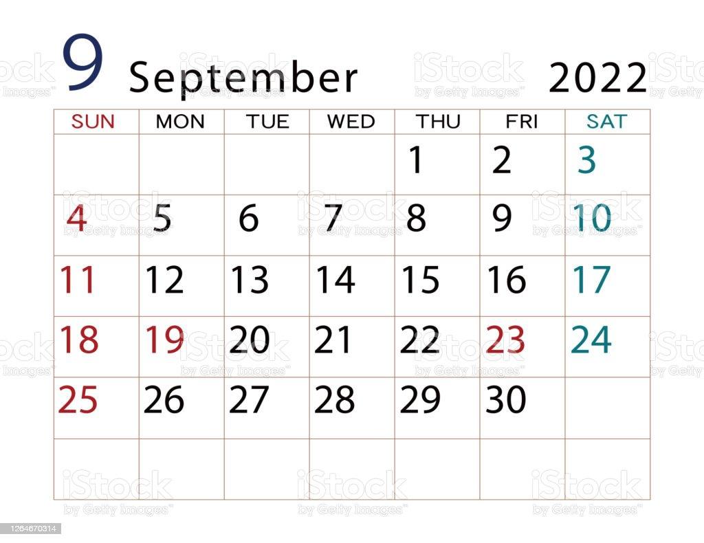 September 2022 Calendar Wallpaper.2022 Calendar Design Month September Stock Illustration Download Image Now Istock