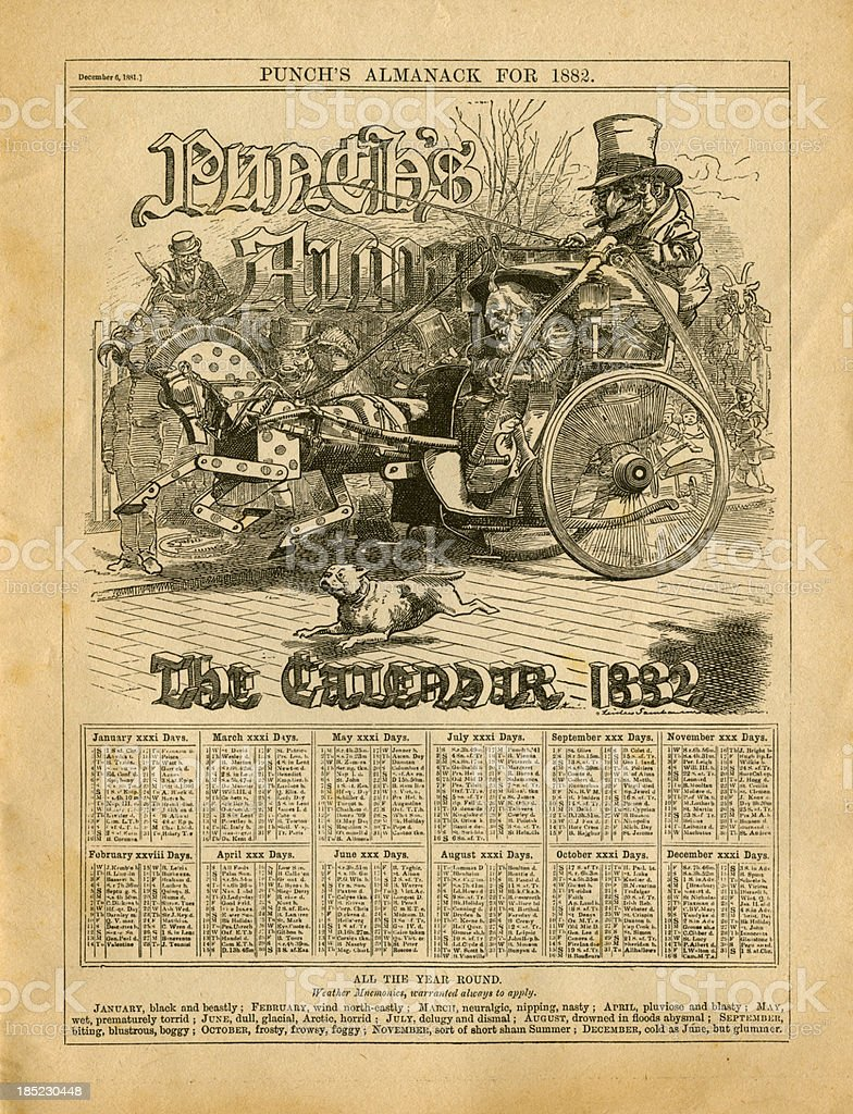 Calendrier pour 1882 de Punch s Almanack - Illustration vectorielle