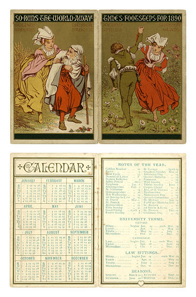 Calendar for 1890 vector art illustration