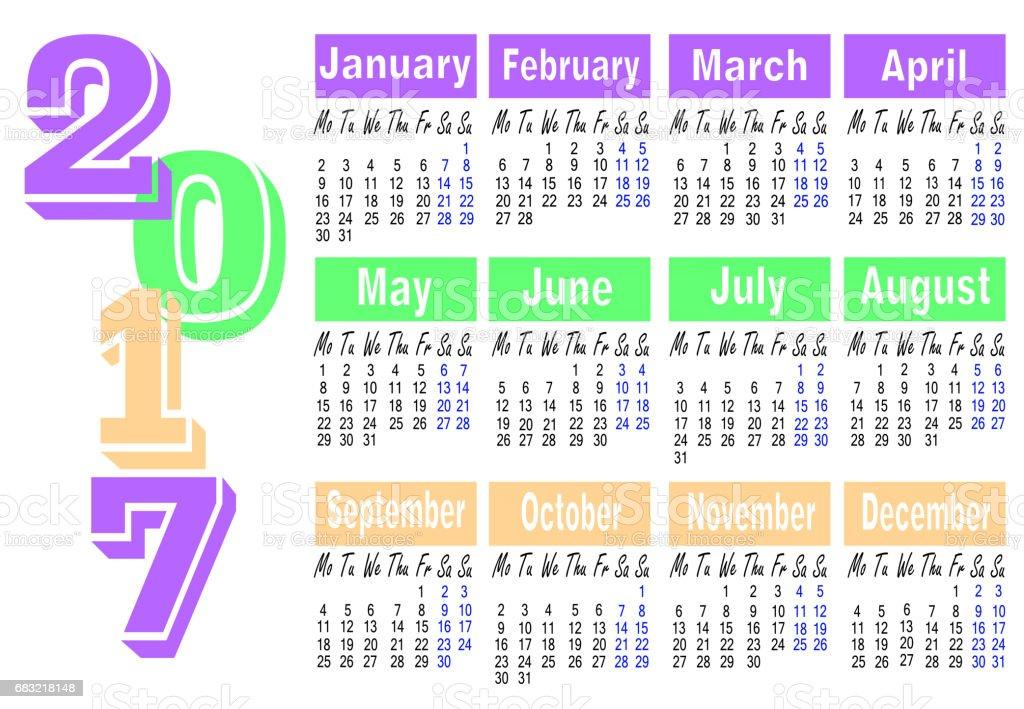 2017 年插圖日曆 免版稅 2017 年插圖日曆 向量插圖及更多 2017 圖片