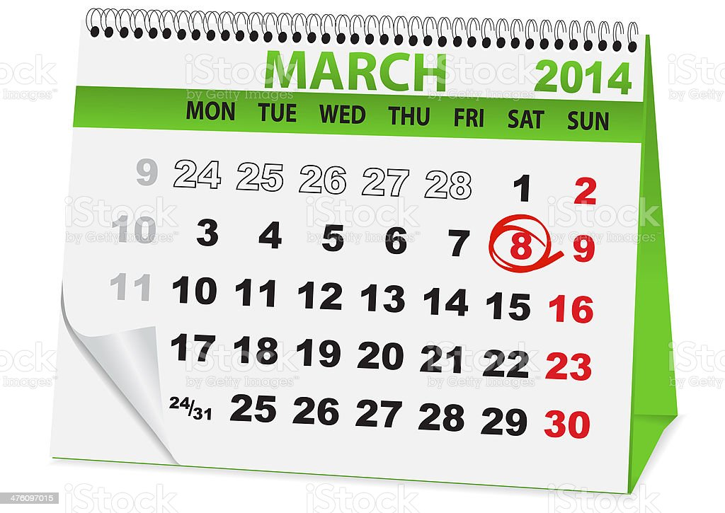 calendar for 8 March royalty-free calendar for 8 march stock vector art & more images of calendar