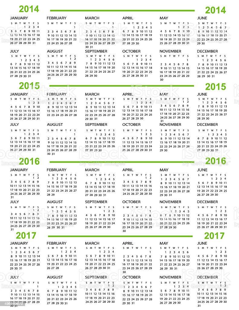 Calendario Anno 2014.Calendario Anno 2014 2015 2016 2017 Immagini Vettoriali