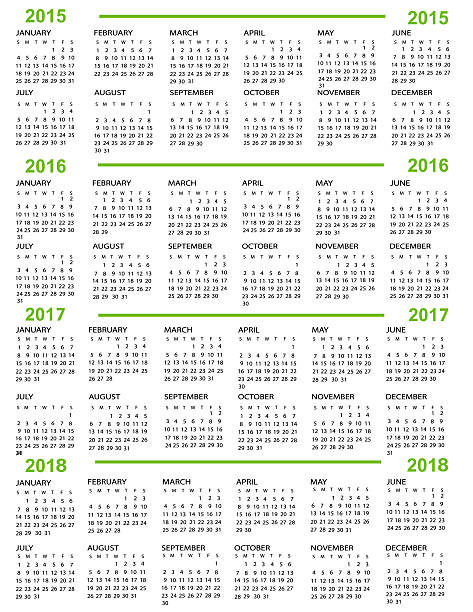 Calendar, New Year 2015, 2016, 2017, 2018 vector art illustration