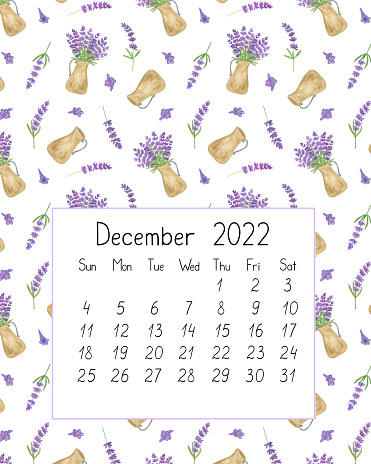 Calendar page the year 2022 for December watercolor floral seamless illustration, printable page, hand drawn pattern of French Provence lavender flowers, souvenirs of summer and vacations