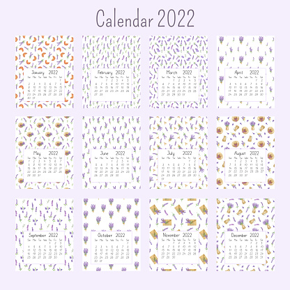 Calendar pages for the year 2022 watercolor floral seamless illustration background, printable page, hand drawn pattern of French Provence lavender flowers, souvenirs of summer and vacations