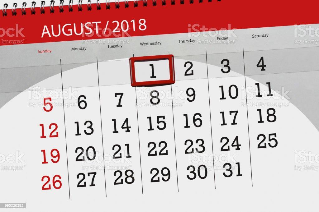 달, 마감 요일, 2018 8 월 1 일 수요일에 대 한 일정 계획
