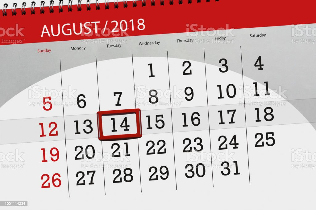 Calendar Planner For The Month Deadline Day Of The Week 2018 August