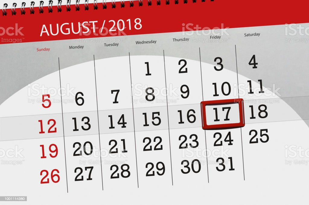 Calendar planner for the month, deadline day of the week, 2018 august, 17, Friday vector art illustration