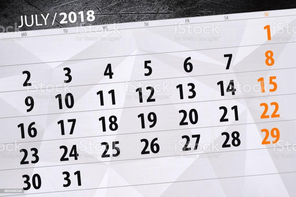 Calendar planner for the month, deadline day of the week, 2018 july calendar planner for the month deadline day of the week 2018 july - stockowe grafiki wektorowe i więcej obrazów 2018 royalty-free