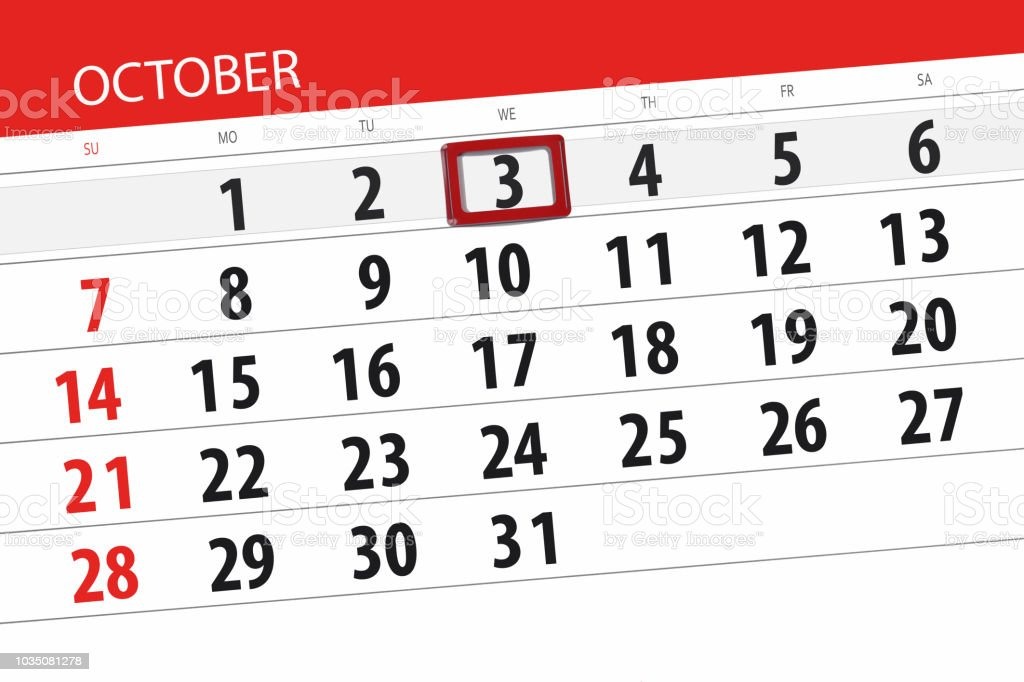 calendar planner for the month deadline day of the week 2018 october