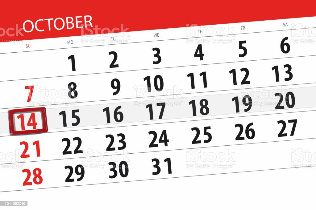 calendar planner for the month deadline day of the week 2018 october 14