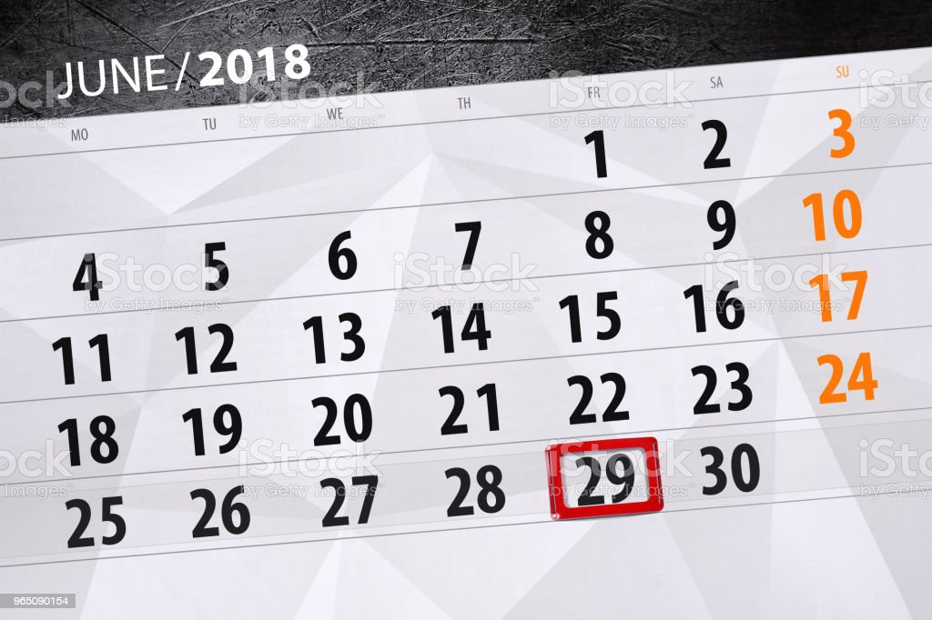 Calendar planner for the month, deadline day of the week, friday, 2018 june 29 royalty-free calendar planner for the month deadline day of the week friday 2018 june 29 stock illustration - download image now
