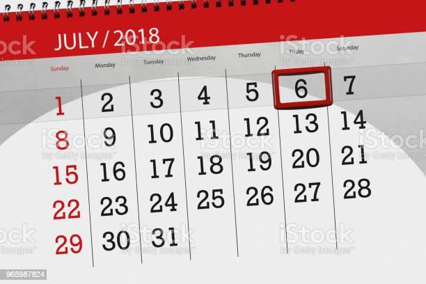 Kalender Planner För Månaden Deadline Dagen I Veckan Fredag 2018 6 Juli-vektorgrafik och fler bilder på 2018