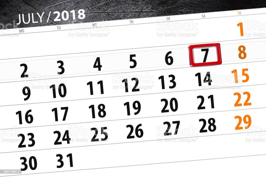 Planejador de calendário para o mês, dia do prazo final de semana, sábado, 7 de julho de 2018 - Ilustração de 2018 royalty-free